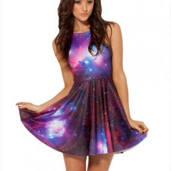 Galaxy Purple Skater Dress