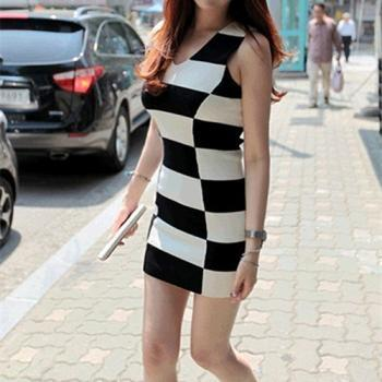 Checker Print Vest Dress 050824