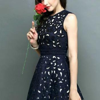 Nail Bead Flower Hollow Out Sundress Autumn