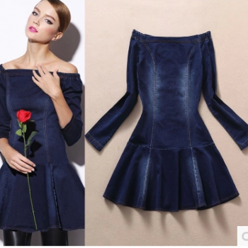 The new women's fashion long-sleeved falbala cowboy off-the-shoulder cultivate one's morality dress