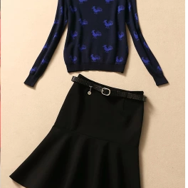 Sapphire blue knitting printing jacket + skirt suit