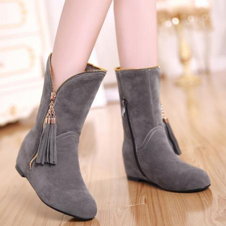 Winter Round Toe Zipper Design Tassel Decorated Flat Mid Heel Grey Suede Ankle Martens Boots
