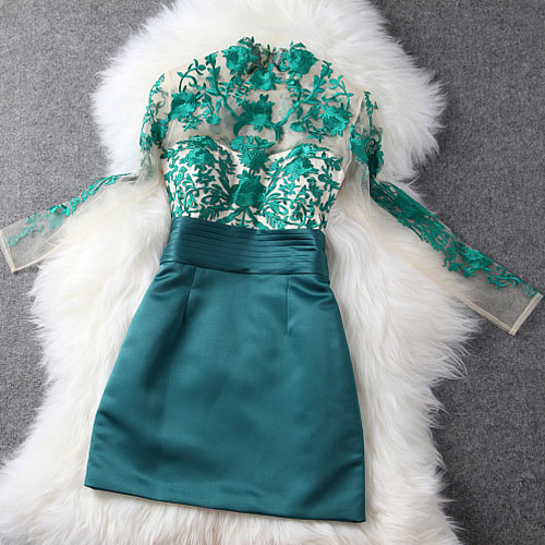 Elegant Semi-Sheer Floral Embroidered Contrast Color Party Dress
