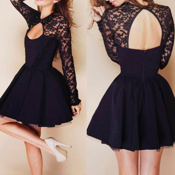 Halter Stitching Lace Dress