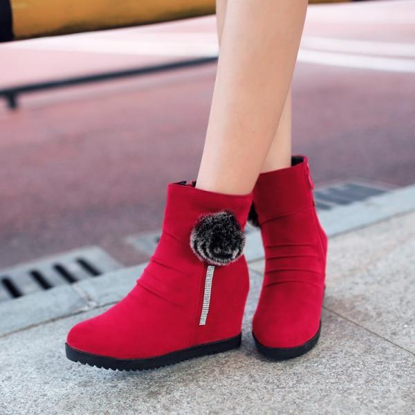 Women's Pure Color Wedge Heel With Side Zippers Flower Knight Boots