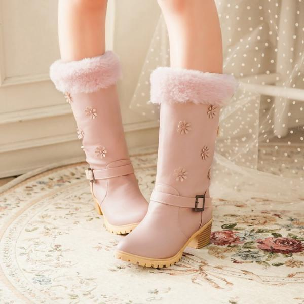 Women's Pure Color Square Heel Band Wool Flower Long Boots
