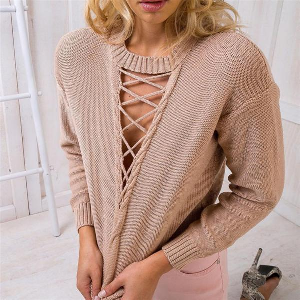 Long sleeve knit deep V loose sweaters